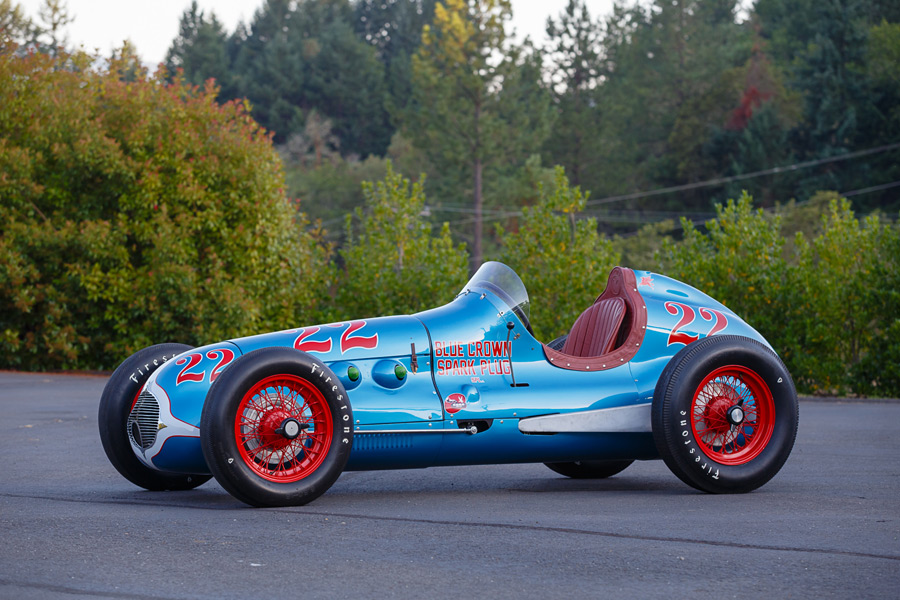 """Commercial Photographer   RM Sothebys   1949 Lesovsky-Offenhauser Indy Car """"Blue Crown Special"""""""