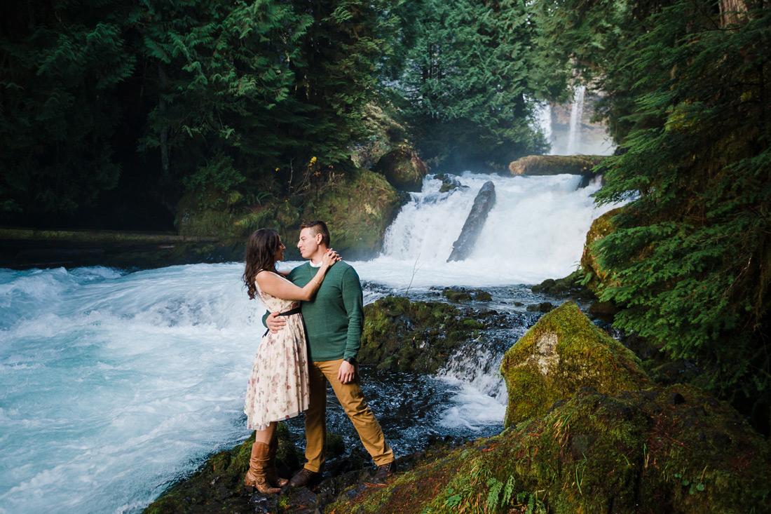 Sahalie Falls McKenzie River Engagement | Marissa & José